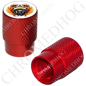 Knurled Valve Stem Caps - Fire Fighter White - 2