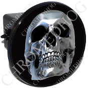 Tow Hitch Cover - Chrome Skull - Black