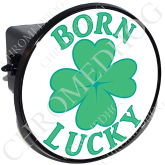 Tow Hitch Cover - Clover - Born Lucky - White