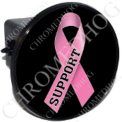Tow Hitch Cover - Pink Ribbon - Black - Support