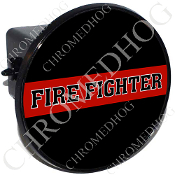 Tow Hitch Cover - Red Line - Fire Fighter - Black