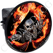 Tow Hitch Cover - Skeleton - Fire Spade