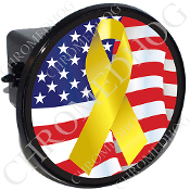 Tow Hitch Cover - Yellow Ribbon - USA Flag