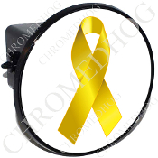 Tow Hitch Cover - Yellow Ribbon - White