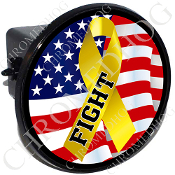 Tow Hitch Cover - Yellow Ribbon - USA Flag - Fight