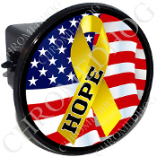 Tow Hitch Cover - Yellow Ribbon - USA Flag - Hope