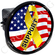 Tow Hitch Cover - Yellow Ribbon - USA Flag - Support