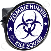 Tow Hitch Cover - Zombie Hunter - Blue/ White