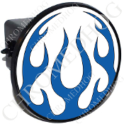 Tow Hitch Cover - Flame - Blue/ White
