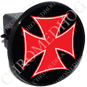 Tow Hitch Cover - Iron Cross - Red/ Black