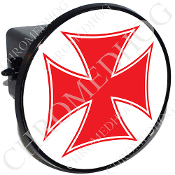 Tow Hitch Cover - Iron Cross - Red/ White