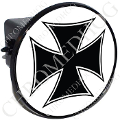 Tow Hitch Cover - Iron Cross - Black/ White