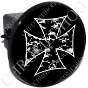 Tow Hitch Cover - Iron Cross - Skull Pile - Black
