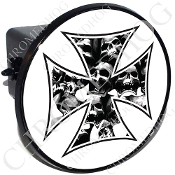 Tow Hitch Cover - Iron Cross - Skull Pile - White
