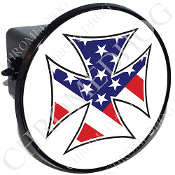 Tow Hitch Cover - Iron Cross - USA Flag - White