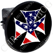 Tow Hitch Cover - Iron Cross - USA Flag - Black