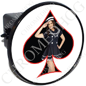 Tow Hitch Cover - Pin Up Spade - Navy - Black/White