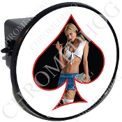 Tow Hitch Cover - Pin Up Spade - School - Black/White
