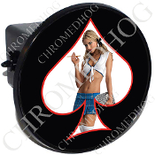 Tow Hitch Cover - Pin Up Spade - School - White/Black
