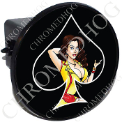 Tow Hitch Cover - Pin Up Spade - Yellow Dress - Black/Black
