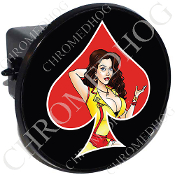 Tow Hitch Cover - Pin Up Spade - Yellow Dress - Red/Black