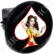 Tow Hitch Cover - Pin Up Spade - Yellow Dress - White/Black