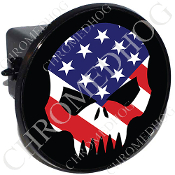 Tow Hitch Cover - Evil Skull - US Flag - Black