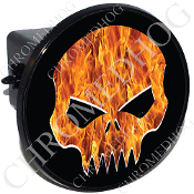 Tow Hitch Cover - Evil Skull - Real Flame - Black