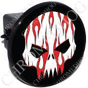 Tow Hitch Cover - Evil Skull - Red Flame - White/Black