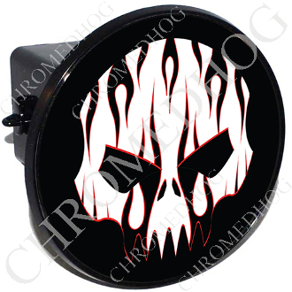 Tow Hitch Cover - Evil Skull - Black Flame - White/Black