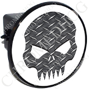Tow Hitch Cover - Evil Skull - Diamond Plate - White