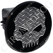Tow Hitch Cover - Evil Skull - Diamond Plate - Black