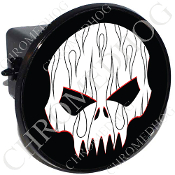 Tow Hitch Cover - Evil Skull - Black Pin Stripe Flame - W/B
