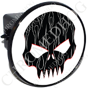 Tow Hitch Cover - Evil Skull - White Pin Stripe Flame - B/W