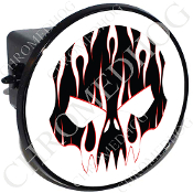 Tow Hitch Cover - Evil Skull - White Flame - Black/White