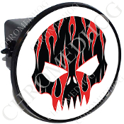 Tow Hitch Cover - Evil Skull - Red Flame - Black/White