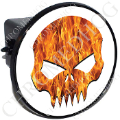 Tow Hitch Cover - Evil Skull - Real Flame - White