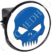 Tow Hitch Cover - Evil Skull -  Blue/White