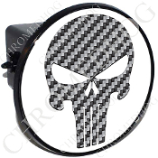 Tow Hitch Cover - Punisher Skull -  Carbon Fiber - White
