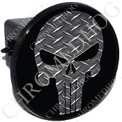 Tow Hitch Cover - Punisher Skull -  Diamond Plate - Black