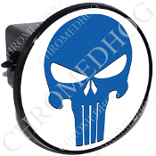 Tow Hitch Cover - Punisher Skull - Blue/White