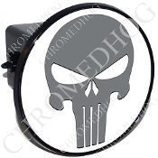 Tow Hitch Cover - Punisher Skull - Gray/White