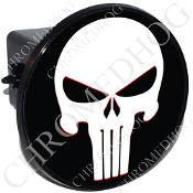 Tow Hitch Cover - Punisher Skull - White/Black