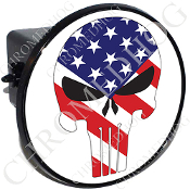 Tow Hitch Cover - Punisher Skull - US Flag - White