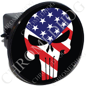 Tow Hitch Cover - Punisher Skull - US Flag - Black