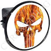 Tow Hitch Cover - Punisher Skull - Real Flame - White