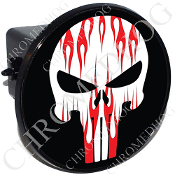 Tow Hitch Cover - Punisher Skull - Red Flame - White/Back