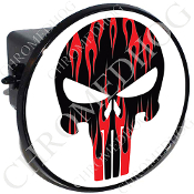 Tow Hitch Cover - Punisher Skull - Red Flame - Black/White