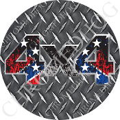 Premium Round Decal - 4x4 - Torn Rebel Flag/ Diamond Plate