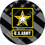Premium Round Decal - Army Logo - Ghost Flag